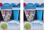 """Frozen Delight """" Disposable Snow Cone Cups and Straws'' 40 -Pack"""