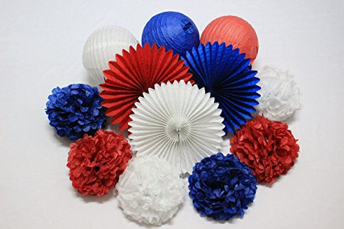 12 pcs Party Decor Navy Blue Red White Tissue Paper Pom Poms Paper Lanterns Tissue Paper Fan Captain America Party Supplies Wedding Patriotic 4th of July Party Decoration