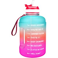 LERDBT Sportwaterfles 2,2 liter motiverende waterfles, met tijd en stro, gallon sportwaterfles, BPA-vrij, lekvrij…