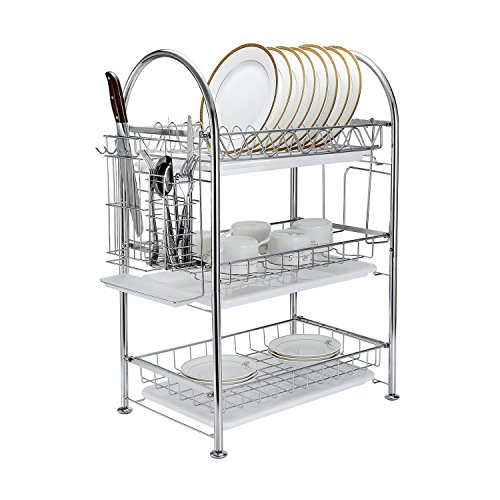 3-Tier Dish Drying Rack Dish Drainer Kitchen Storage Organization Shlef, Stainless Steel, GEYUEYA Home (Bowl Rack)