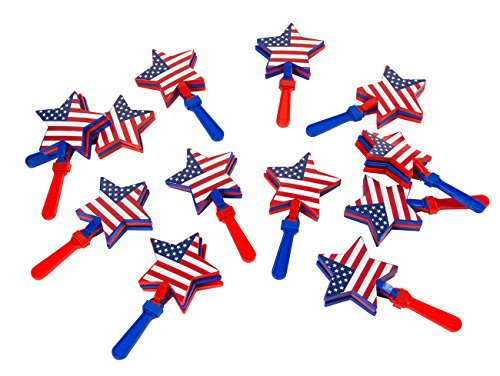 Hand Clapper Noisemakers - 12-Pack Star-Shaped Hand Clappers