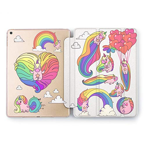 Wonder Wild Rainbow Unicorn iPad Case 9.7 Pro inch Multicolor Print Mini 1 2 3 4 Air 2 10.5 12.9 2018 2017 Protective Clear Animal Hard Shell Design Flip Bright Horse Women Girl Cover 5th 6th]()