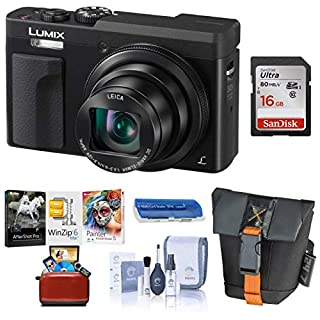 Panasonic LUMIX DC-ZS70K, 20.3 Megapixel, 4K Digital Camera, Touch Enabled 3-inch 180 Degree Flip-Front Display, 30X Zoom (Black), Bag + 16GB SD Card + Mac Software Kit + Cleaning Kit + Card Reader