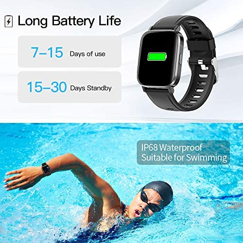 RUNDOING Smart Watch for Men Women,1.54″ Fitness Tracker iP68 Waterproof Watch with Heart Rate Monitor, Calorie Counter,Pedometer Smartwatch Compatible for Android Phones iPhone 51rgqUfffIL