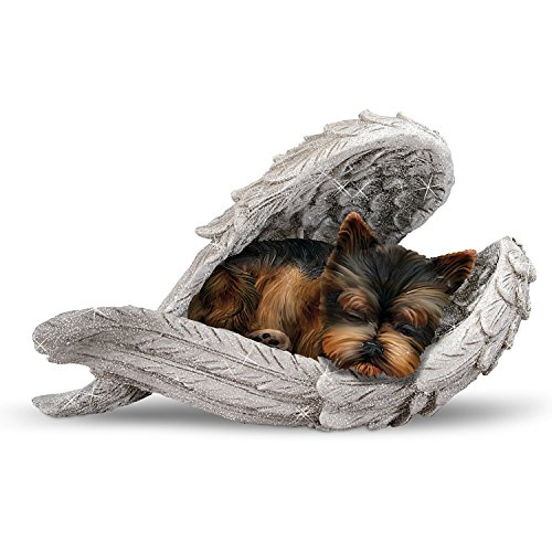 Terrier Figurine (Blake Jensen Yorkie Leave Paw Prints On Our Hearts Wrapped In Angel Wings Figurine by The Hamilton Collection)