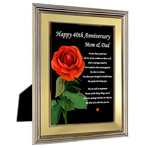 Mom and Dad 40th Wedding Anniversary Gift - Anniversary Poem for Parents in 5x7 Frame (40 Year Wedding Anniversary Gift For Parents)