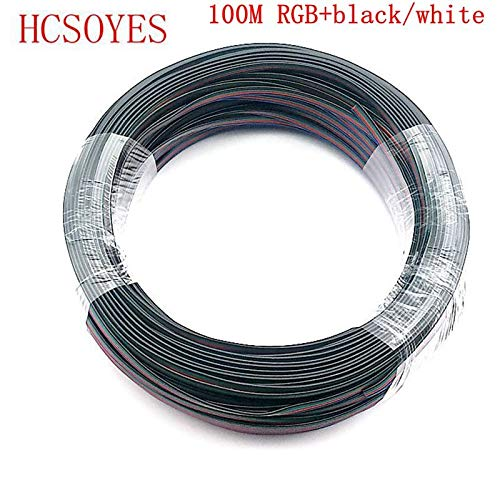 Gimax 100m 4 Pin Extension RGB black/white Wire Cable led connector For ws2801/5050/3528/lpd8806/apa102 smd RGB LED Strip 22AWG line - (Color: black)