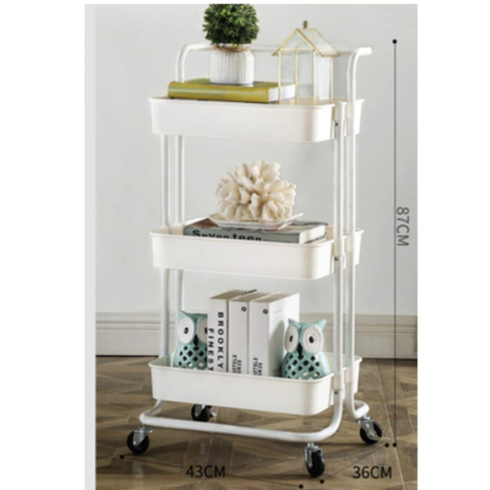 Kitchen shelf HUO 3-Layer Service Trolley Handle Metal Mesh Rolling Practical Organization Trolley Rack-3color-453882cm (Color : White)