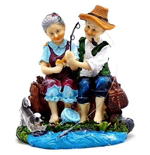 HAPPY Love Never Dies Wedding Anniversary Old Couple Figurine Happy Couple Design Statue Sculpture