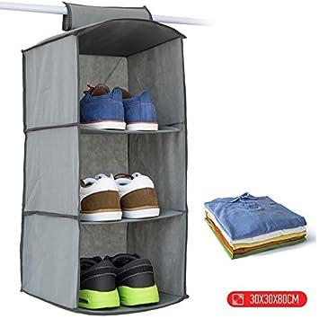 ArenaHome para Colgar estantes Armario de Almacenamiento Organizador Armario de Tela Gris para Dormitorio, 3 sección Plegable Ropa de Almacenamiento: ...
