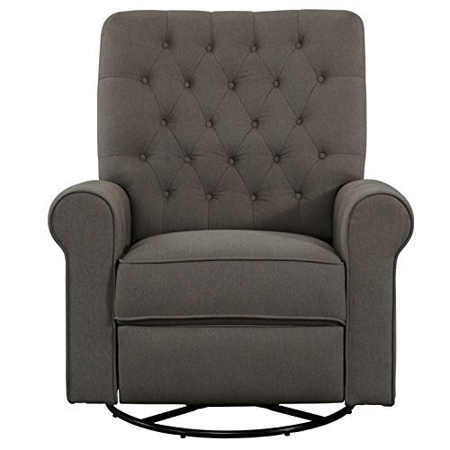 (Pulaski DS-D104-006-498 Traditional Roll Arm Recliner Swivel Glider, Grey)