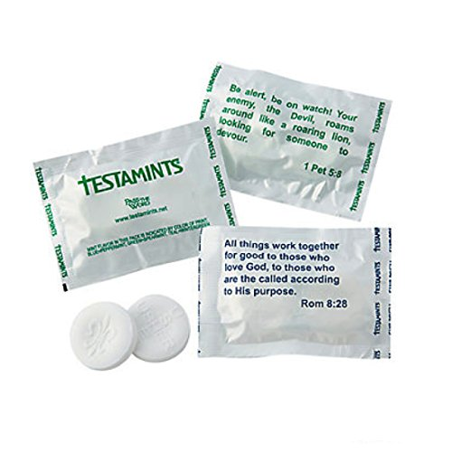 Testamints Mint candy with Scripture wrappers. and imprinted