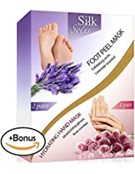 Foot Peel Mask 2 Pack and Moisturizing Gloves Baby Feet Manicure and Pedicure Kit Exfoliating Foot Treatment Home Spa Hand Therapy Peeling Away Calluses and Dead Skin Cells