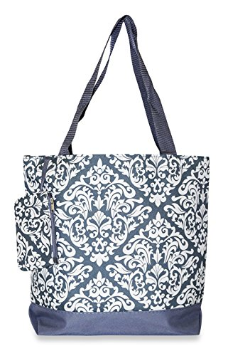Ever Moda Damask Collection Tote Bag, Large 17-inch (Damask - Grey)