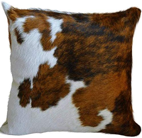 Ecowhides Cowhide Pillow Case 15 X 15 Tricolor Genuine Leather Cowskin Throw Pillow Cover Brown Black White One Sided Case Only Home Kitchen