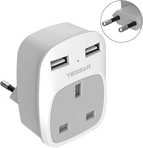 LENCENT 2X UK to EU Euro Europe Plug Adapter Type E//F Grounded European Travel Adapter for Spain Germany France Portugal Greece Russia Netherlands Turkey and more