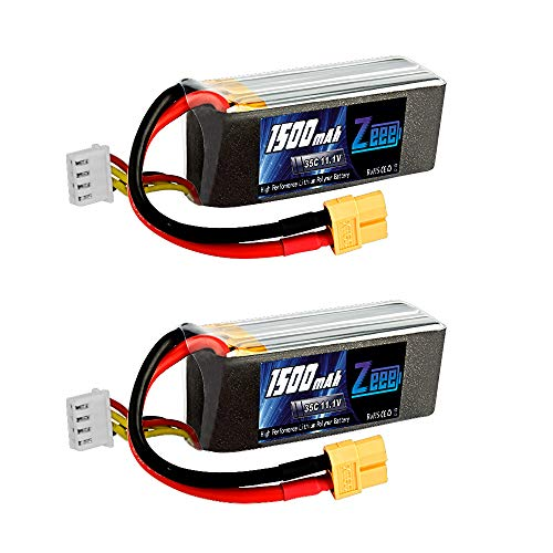 Zeee 3s Lipo Battery 1500mAh 35C 11.1V RC Lipo Batteries Pack with XT60 Connector for RC Quadcopter Helicopter Airplane Multi-Motor Hobby DIY Parts(2 Pcs) ... ()