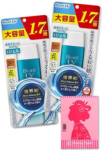 Biore UV Aqua Rich Watery Gel, 2 Pack (5.3oz / 155ml) SPF 50+, PA++++ UVA Protection Rating - Includes Original Japanese Traditional Oil Blotting Paper