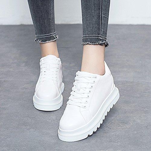 Giy Damesmode Platform Ronde Neus Lage Sneaker Wig Dikke Onderkant Casual Casual Sportschoenen Wit