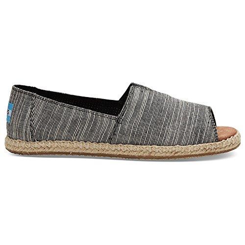 Toms Women's Alpargata Open Toe Textile Black Microstripe Ankle-High Canvas Flat Shoe - (Toms Flat Sandals)