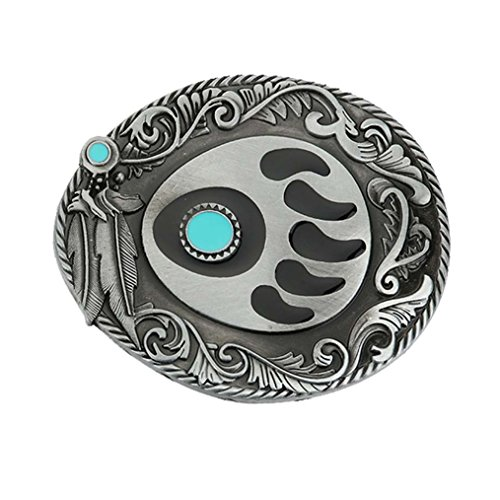 MASOP Bear Claws Turquoise Feather Men's Cowgirls Waist Belt Buckle Head Metal - Bear Buckle