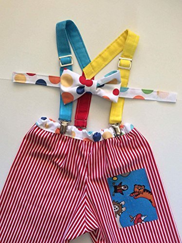 Circus Animal Carnival Stripes and Polka Dot Boys First Birthday Cake Smash Outfit Pants Set with Suspenders and w/optional Party Hat