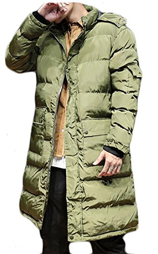 today-UK Men's Hooded Quilted Puffer Down Jacket Zippered Length Outerwear Parka Coat Army Green