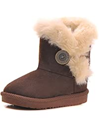 Girls Bailey Button Faux Shearling Fur Insulated Snow Boots Kids Winter Flat Shoes (Toddler/Little Kid)
