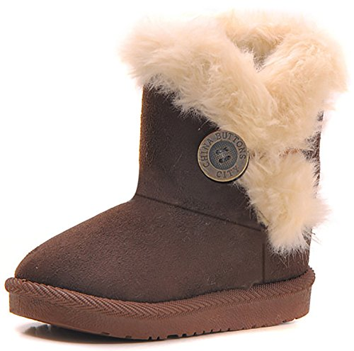 Poppin Kicks Girls Bailey Button Faux Shearling Fur Insulated Snow Boots Kids Winter Flat Shoes Brown 6 M US Toddler -