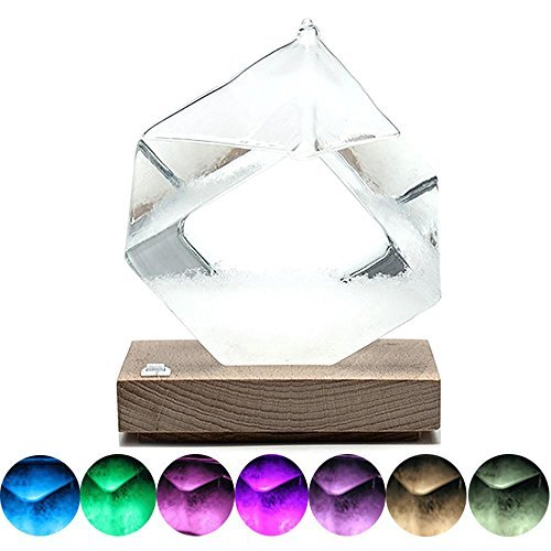 Pawaca Weather Storm Glass with LED Lights, Stylish Diamond Fitzroy Weather Barometer Forecast Bottle, Craft Home Decor and Christmas Birthday Gift (Weather Cube)