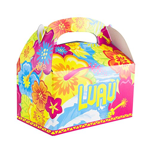 Super Z Outlet Colorful Luau Hawaii Island Tropical Treat Gift Paper Cardboard Boxes with Handles for Crafts, Candy Goodie Bags, Picnic Snacks, Birthday Party Favor, Baby Shower (12 Pack) -