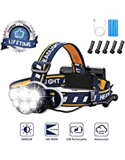 Brightest Headlamp,Super Bright 18000 Lumen 6 LED Work Headlight With Red Warning Lihgt 8 Modes Rechargeable Waterproof Flashlight , HeadLights for Camping Cycling Hunting Fishing Climbing Running Outdoor