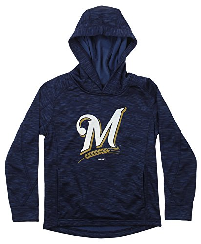 - Outerstuff MLB Youth's Performance Fleece Primary Logo Hoodie, Milwaukee Brewers Large (14-16)