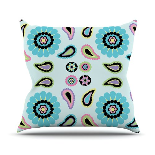 New Kess InHouse Nina May Paisley Candy Paisley Flower Outdoor Throw Pillow, 16 by 16-Inch