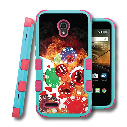 OneTouch Conquest Case, CASECREATOR[TM] For Alcatel OneTouch Conquest / 7046T (Boost Mobile) -- NATURAL TUFF Hybrid Rubber Hard Snap-on Case Pink Teal Blue-Cards Dice Chips