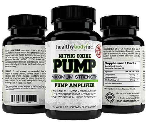 Pump Muscle Amplifier (Premium Nitric Oxide Pump Amplifier By Healthy Body Inc - Maximum Strength L - Arginine Workout Supplement - Pre - Workout Pump Intensifier - Post Workout Muscle Recovery - Made In USA - 90 Capsules)