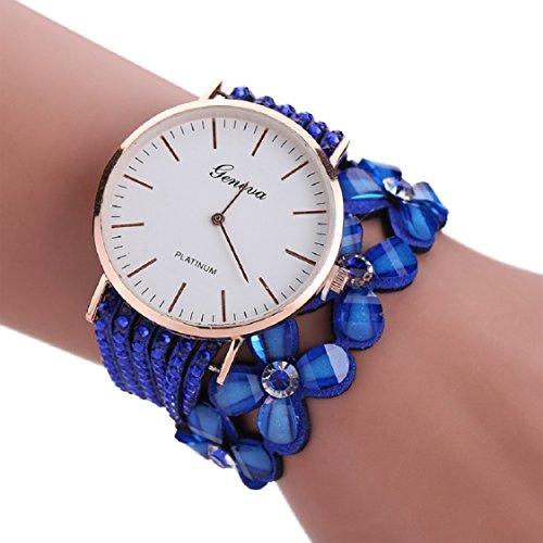 Ikevan Newest Fashion Leisure Womens Quartz Bracelet Watch Crystal Diamond Wrist Watch Jewelry Gift for Women Girls (Blue) (Jewelry Dial Blue)