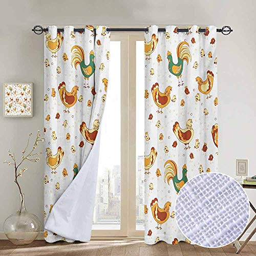 NUOMANAN Living Room Curtains Gallus,Rooster Hen and Chicks Dotted Background Family April Eggs Feast Field,Teal Ginger Dark Orange,Adjustable Tie Up Shade Rod Pocket Curtain -