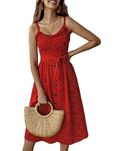 PRETTYGARDEN Women's Summer Sunflower Boho Spaghetti Strap Semi-Backless Button Down Swing A-Line Midi Dress with Belt and Pockets (014-Red, Large)