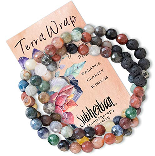 Subherban Essential Oil Bracelets - Aromatherapy Bracelet or Necklace - Lava Rock Anxiety Bracelet - TERRA WRAP - Handmade Jewelry - Gifts for Women