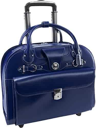Wheeled Women's Laptop Briefcase, Leather, Mid-Size, Navy - EDGEBROOK   McKlein