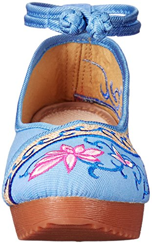 AvaCostume Old Beijing Womens Embroidery Summer Sandals Comfortable Casual Walking Shoes Blue 0JUQRK