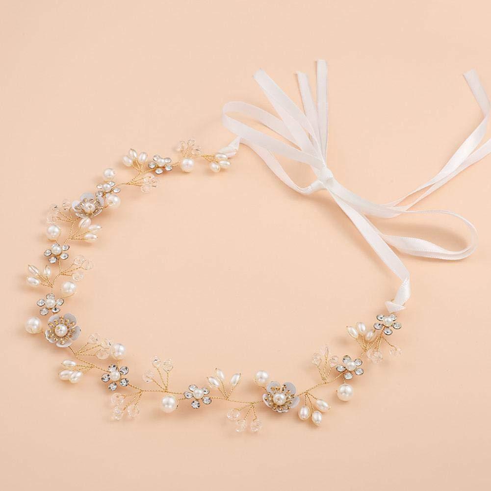 kaersishop Bijoux de Mariage Belles Fleurs /à la Main perl/é Bande de Cheveux Coiffure de Mariage Pinces /à Cheveux en Cristal