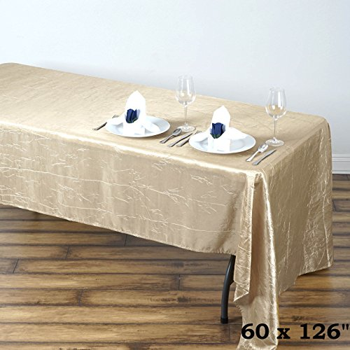 BalsaCircle 60x126-Inch Champagne Rectangle Crinkled Taffeta Tablecloth Table Cover Linens for Wedding Party Kitchen Dining -