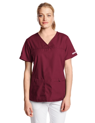 Cherokee Women's Scrubs Flexibles Sporty V-Neck Knit Panel Top, Wine, - Sporty Pants Knit