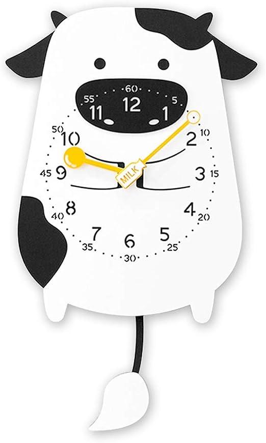 Amazon Com Mxd Wall Clock Children Cute Cartoon Cow Swing Wall Clock Modern Decorative Pendulum Clock Creative Animal Clock Swing Clock Home Kitchen
