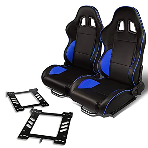 Pair of RS-021-BK-BL PVC Leather Reclinable Racing Seat+Bracket for Vw Golf/Jetta/Beatle (Backwards Beatles)