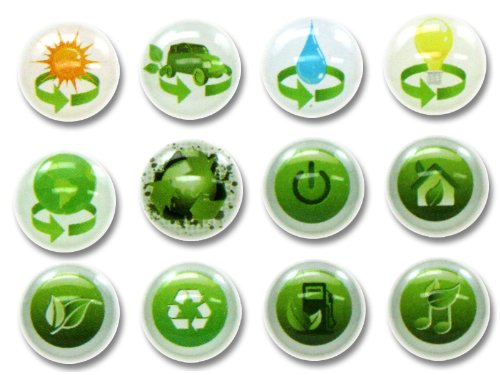 3D Semi-circular Go Green Clean Energy Renew Recycle Reuse Save the Earth Conserve Water 12 Pieces Bubble Home Button Stickers for iPhone 5 4/4s 3GS 3G, iPad 2, iPad Mini, iTouch ()