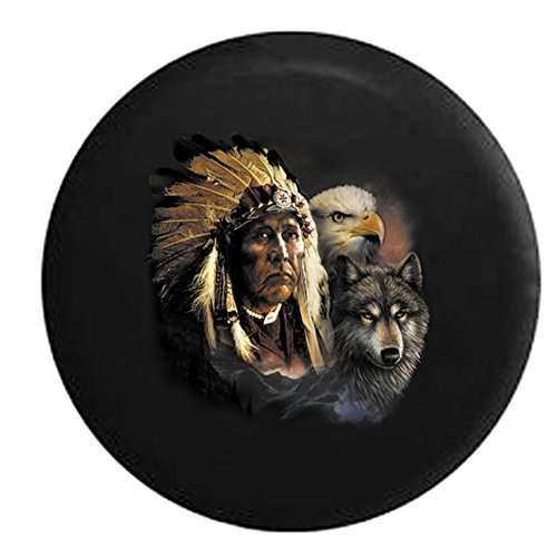- American Chief in Full Dress with American Eagle and White Wolf Spare Tire Cover Black 35 in