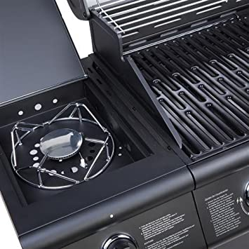 cosmogrilltm 6 + 1 Deluxe - Quemador de Gas para parrilla o barbacoa, incluye quemador lateral, 77 x 42 cm, color negro: Amazon.es: Jardín